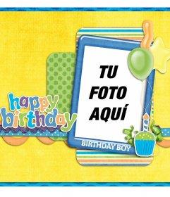 Postal de cumpleaños para fotos gratis y felicitar a un niño