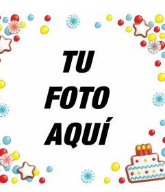 Marco para fotos con dulces y una tarta de Cumpleaños para editar