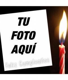 Tarjeta editable para desear Feliz Cumpleaños y con una vela para una foto