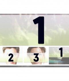 Marco para cuatro fotografías con una en grande y tres pequeñas horizontalmente