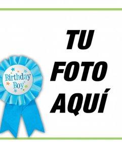 Marco de felicitación de cumpleaños para un niño y editar con una foto