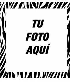 Foto marco editable con diseño de cebra para decorar tus imágenes
