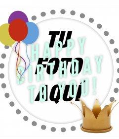 Marco editable para celebrar un cumpleaños decorando tu foto de perfil