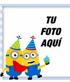Marco original con los Minion de fiesta de cumpleaños