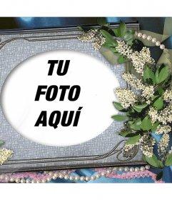 Porta retrato para editar con tu foto favorita y decorarla con flores y adornos