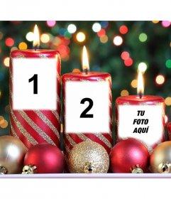 Fotomontaje de velas de Navidad para tres fotos