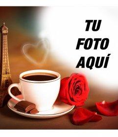 Fotomontaje de amor con la torre Eiffel de Paris y un café