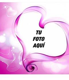 Original montaje para añadir tu foto a un corazón con fondo rosa