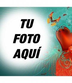 Fotomontaje de amor con una mariposa para subir tu foto