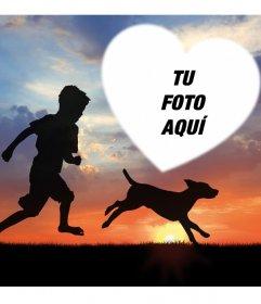 Hermoso fotomontaje con un niño y un perro para tu foto