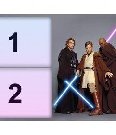 Fotomontaje de tres personajes de Star Wars para dos fotos