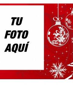Marco de Navidad blanco y rojo para tu foto