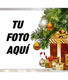 Fotomontaje de Navidad con regalos para subir tu foto