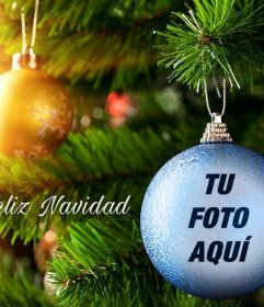Fotomontaje de Navidad de una bola azul para ponerle tu foto