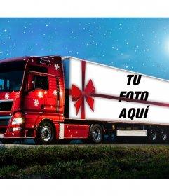 Fotomontaje de un camión de Navidad para subir una foto