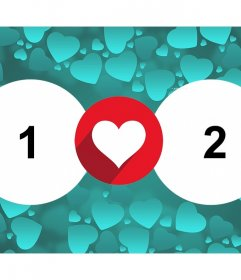 Fotomontaje para dos fotos para expresar el amor