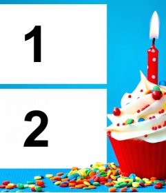 Collage para dos fotos con un pastelito de Cumpleaños