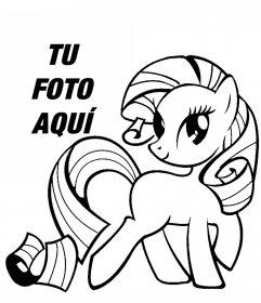 Fotomontaje de un dibujo de My Little Pony para imprimir y colorear