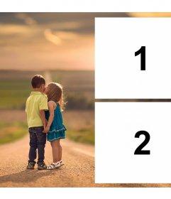 Fotomontaje de amor para dos fotos de dos niños