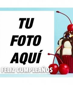 Especial foto efecto para desear un FELIZ CUMPLEAÑOS con un pastel