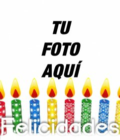 Fotomontaje de velas de colores de cumpleaños para subir foto