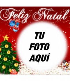 Tarjeta para desear una Feliz Navidad personalizada con una foto online