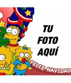 Tarjeta de Feliz Navidad de la familia Simpson