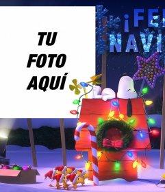 Fotomontaje de Navidad de Snoopy para poner tu foto