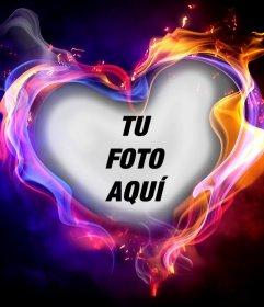 Fotomontaje de un corazón de fuego para subir tu foto