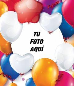 Fotomontaje con globos de celebración para tu foto
