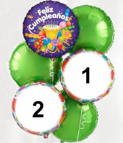 Fotomontaje de globos de cumpleaños para dos fotos