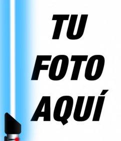 Fotomontaje del sable azul de Star Wars para tu foto