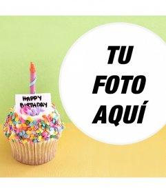 Fotomontaje con un cupcake de Cumpleaños para tu foto