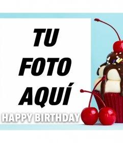 Fotomontaje con un cupcake para cumpleaños