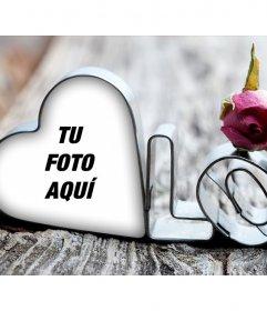 Tu foto dentro de un corazón y la palabra LOVE