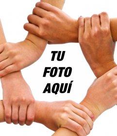 Fotomontaje de manos unidas para subir tu foto