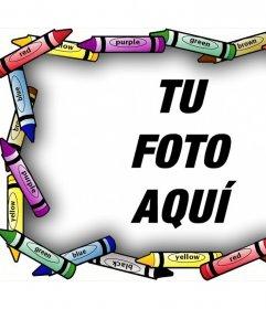 Artístico marco para tus fotos con crayones de colores