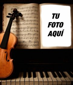 Sube tu foto a éste fotomontaje de un violín y un piano