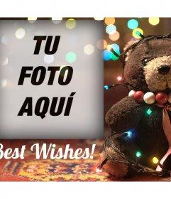 Fotomontaje de un Oso con luces de Navidad para tu foto