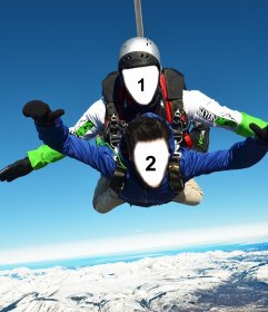 Fotomontaje de dos personas en paracaídas para dos fotos
