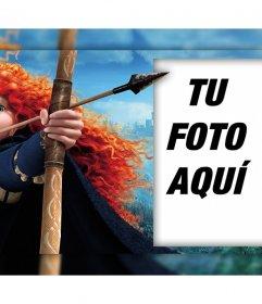 Personaje de la película Valiente con su arco donde puedes editar con tu foto