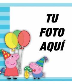 Fotomontaje con Peppa Pig y George de fiesta para subir tu foto