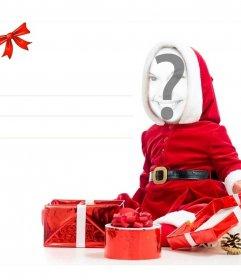 Pon tu cara en esta original tarjeta para regalar en Navidad