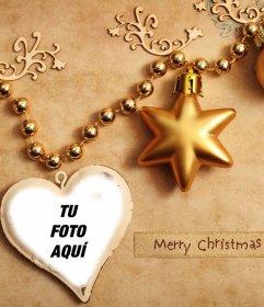Adornos de Navidad para subir tu foto dentro de un corazón