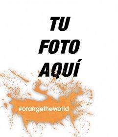 Fotomontaje de mancha naranja en contra de la violencia a la mujer