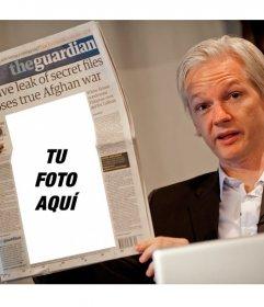 Montaje para poner una foto tuya en un periódico que está leyendo el fundador de WikiLeaks Julian Assange