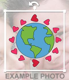 Sticker para decorar tus fotos con el mundo rodeado de corazones