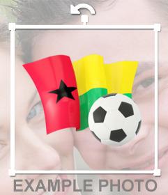 Decora tus fotos con este sticker con la bandera de Guinea-Bissau y un balón de fútbol