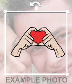 Sticker para tus fotos con las manos haciendo la forma de corazón