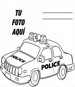 Fotomontaje para imprimir y colorear un carro de policía gratis
